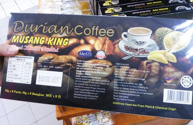 Typické balení durianové kávy